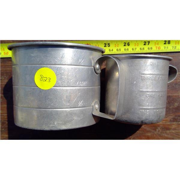 1 - 1C Tin Measure Cup - Canada & 1 - 2C Measure Cup