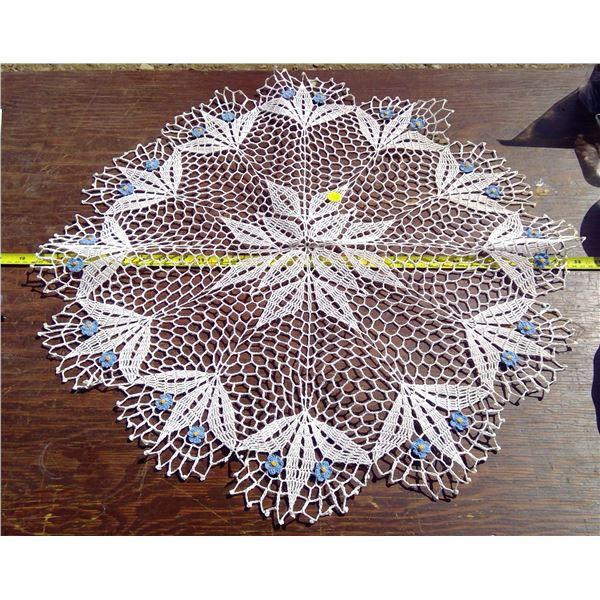 1 - 27  Crochet Centre Piece with Blue Flowers