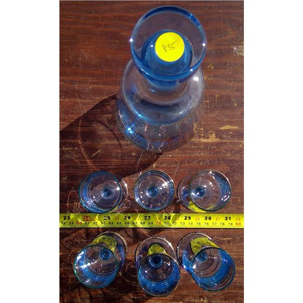 1 Blue Gold Decanter with 6 Glasses