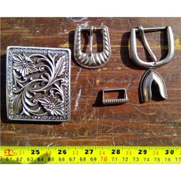 3 Silver Belt Buckles, 1 Silver Belt Tip, 1 Silver Loop