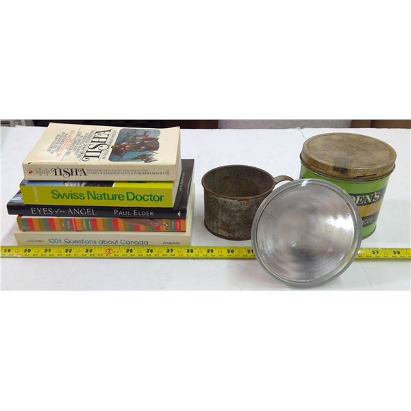 Lot of 1 Ogden Tobacco Tin, 5 Books, 1 Tin Cup & 1 Halogen Bulb (90W)
