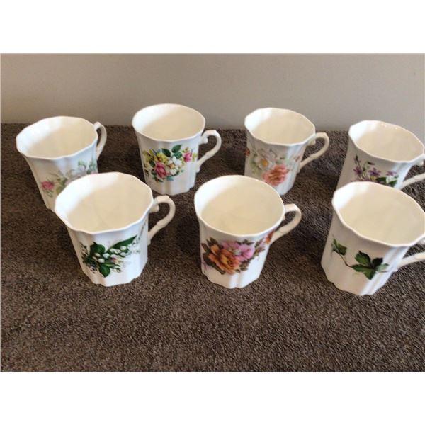 Lot of 7 fine bone china mugs