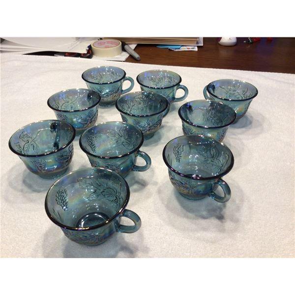 Lot of 10 vintage Indiana blue carnival glass harvest grape punch mugs