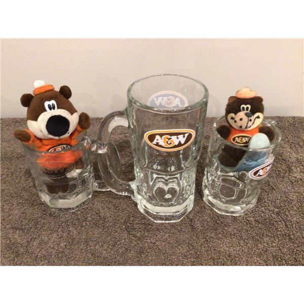 lot of 3 vintage A&W mugs and 2 mini bears
