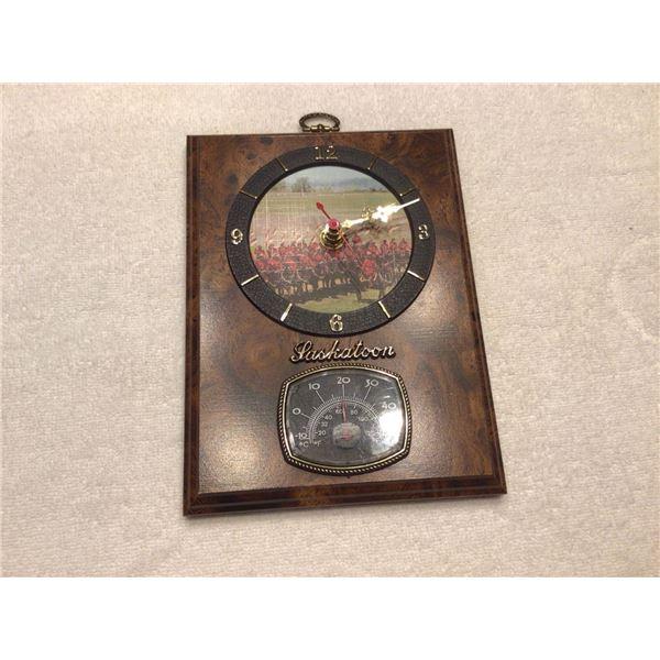RCMP/Saskatoon clock, thermometer - 2 photos