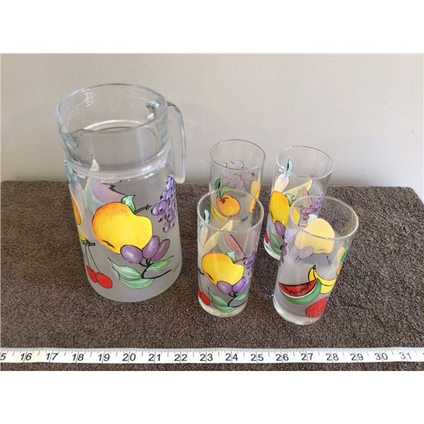 Vintage fruit pitcher with 4 glasses, stamped FRANCE, mint condition - 4 photos