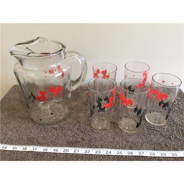 """Vintage Federal glass 8"""" tall red & black Scotty dog pticher with 5 matching glasses, EXC condition"""