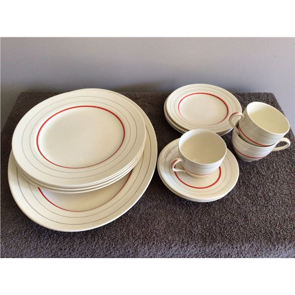 """J&G Meakin """"SOL"""" dishes, 1 14"""" platter, 4 dinner plates, 4 small plates, 3 cups/saucers - 8 photos"""