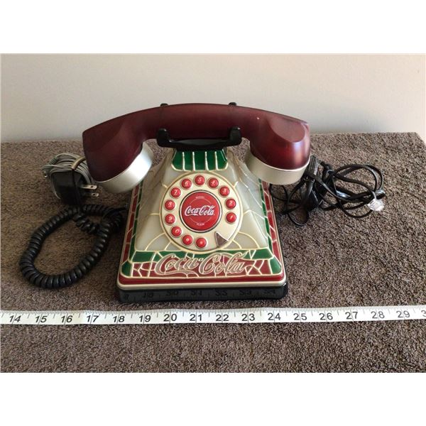 Vintage Coca Cola stained galss look telephone, works - 2 photos