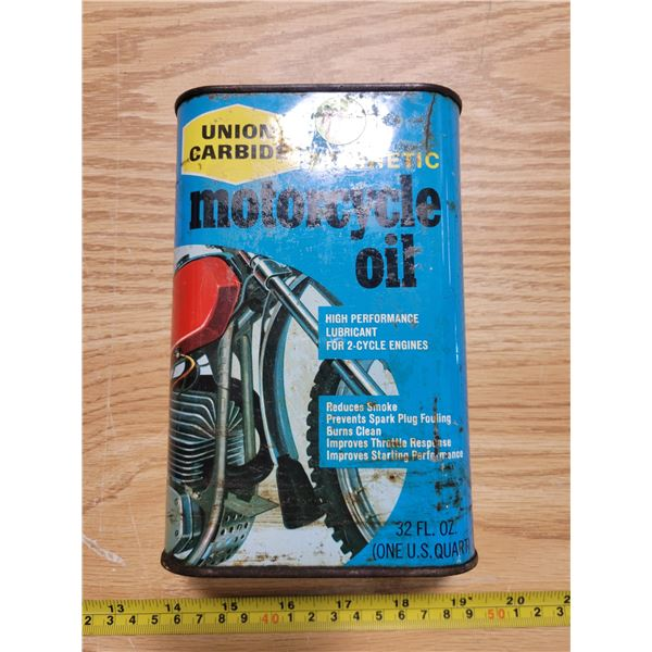 Full synthetic motorcycle quart oil can