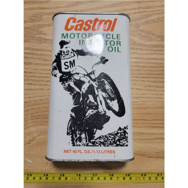 Full Castrol motorcycle quart oil can