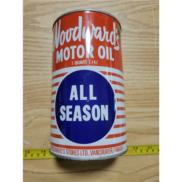 Full woodwards quart oil can (minty)