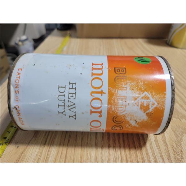 Empty Eaton's Bull Dog quart oil can