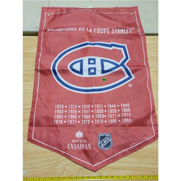 "Nylon Montreal Canadiens banner 35"" X 23"""