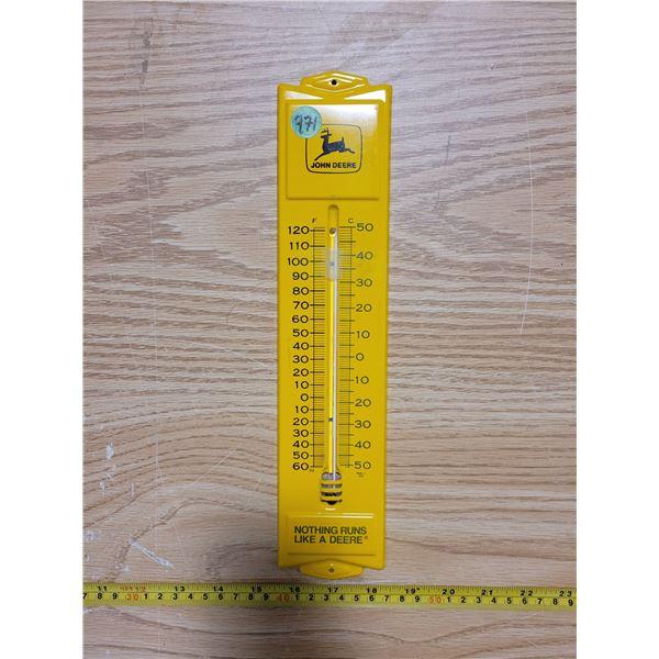 "John Deere tin thermometer 13"" X 3"""
