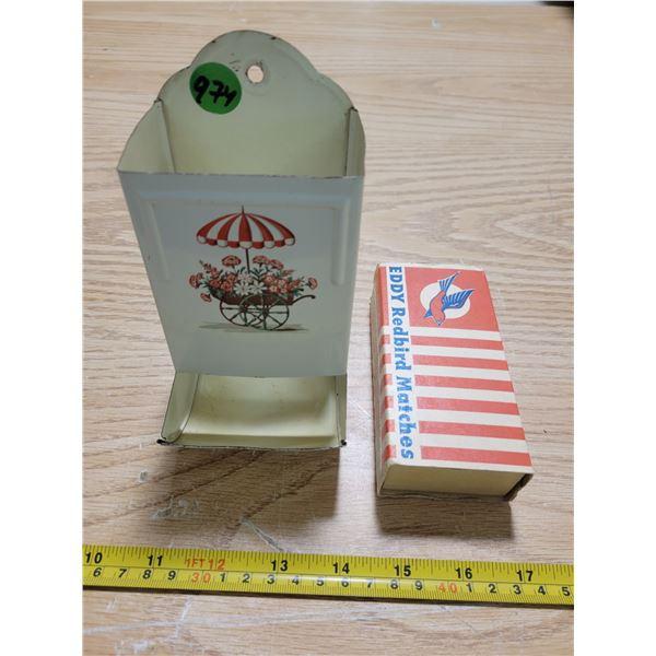 Vintage tin match dispenser