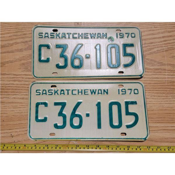 Pair of 1970 commercial Saskatchewan license plates