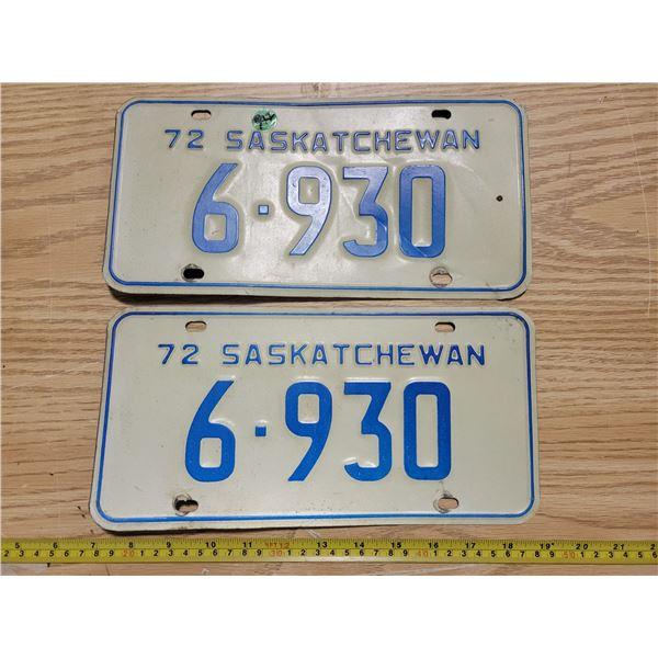 Pair of Saskatchewan 1972 license plates