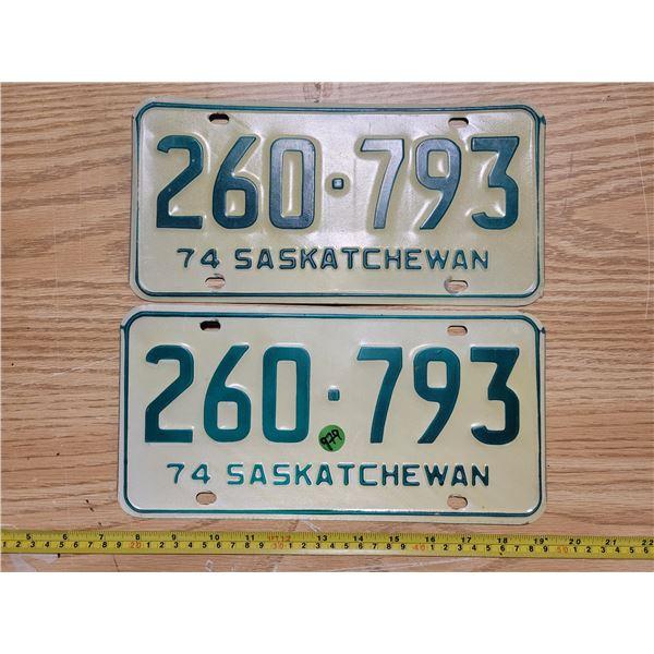Pair of Saskatchewan 1974 license plates