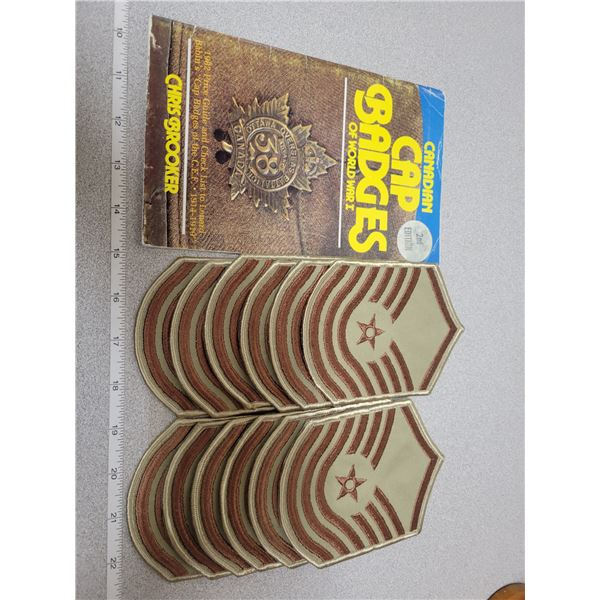 WWI cap badges price guide ('82) and 6 pairs Sgt. Shoulder patches