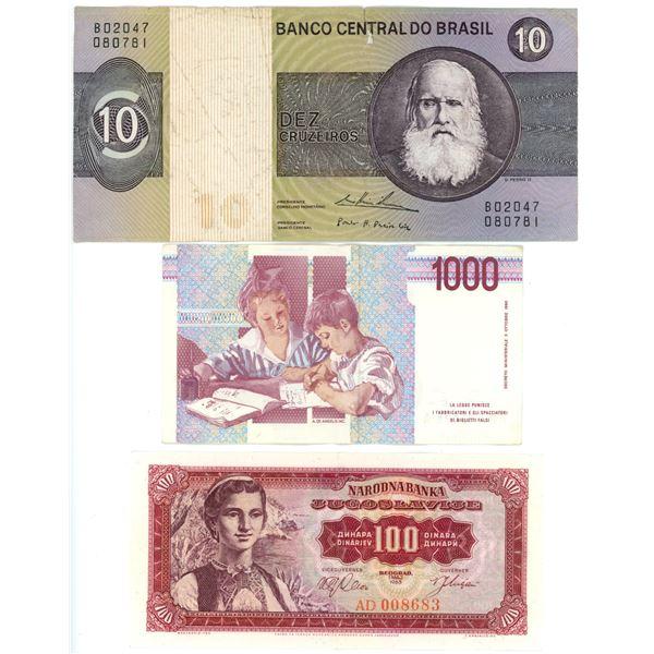 Currency - Brazil, Italy & Yugoslavia