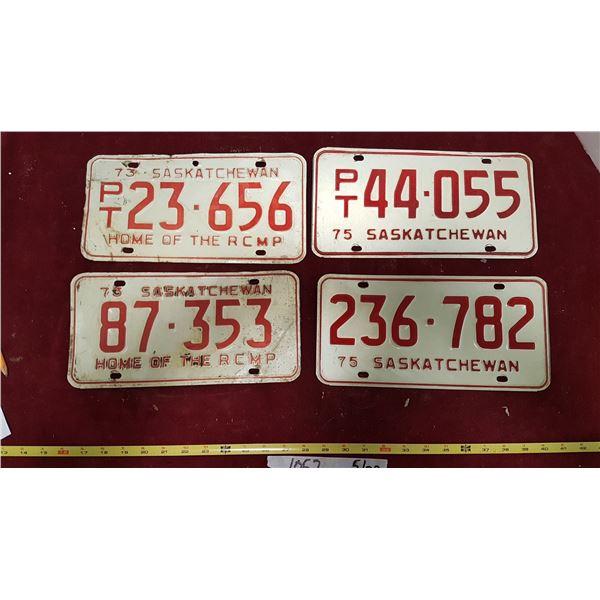 2 1973 & 2 1975 Sask. Plates