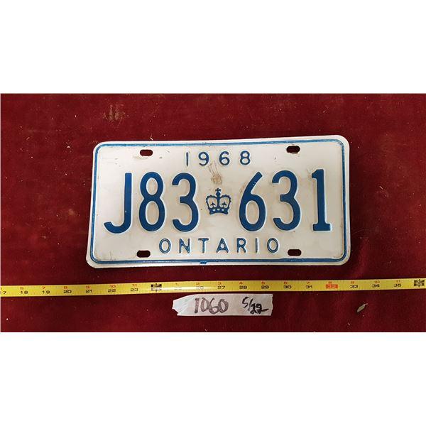 1968 Ontario Plate