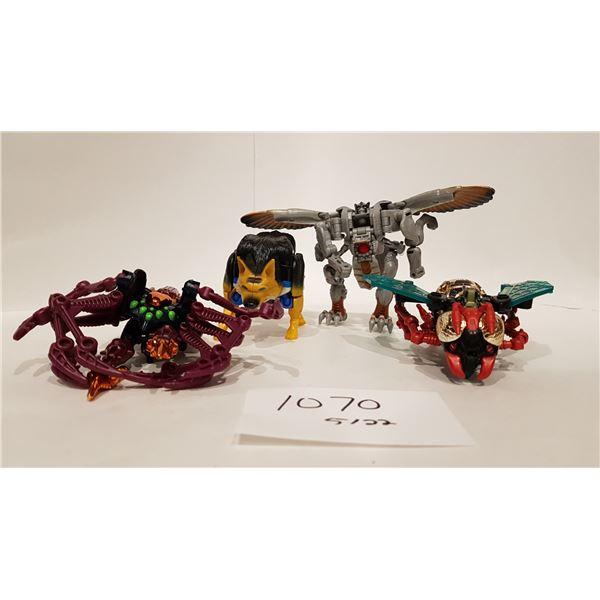 Transformers Beast Wars Loose Action Figures X4 (Metals Waspinator,Metals Tarantulas Silverbolt Delu