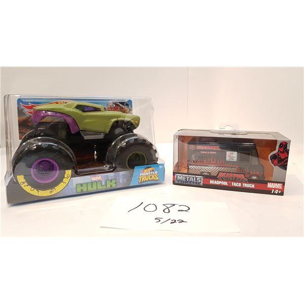 Marvel Toy Car Bundle - Hotwheels Hulk Monster Truck and Deadpool Taco Truck (Diecast)