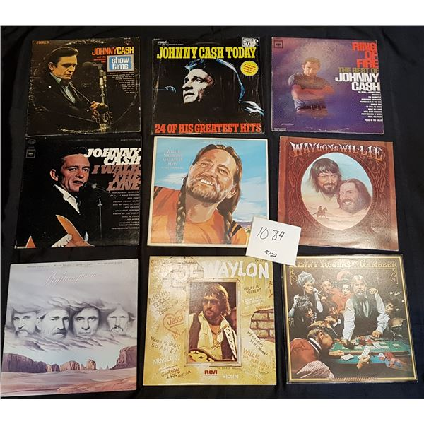 9 Country Records/Vinyl Bundle (Johnny Cash,Waylon Jennings, Willie Nelson and Kenny Rogers)
