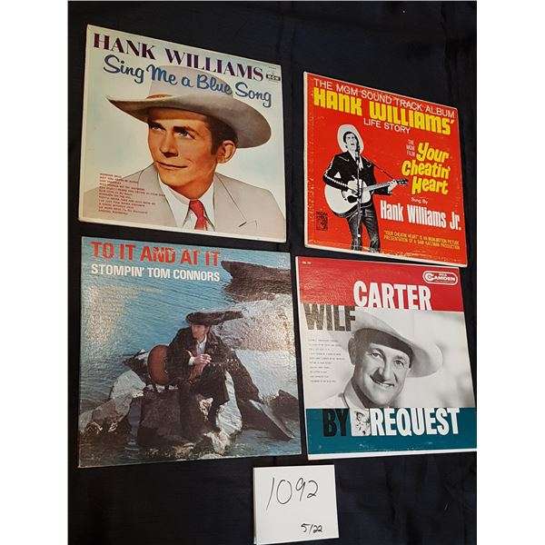 4X Classic Country/Western Albums (Stompin' Tom Connors, Wilf Carter and Hank Williams)