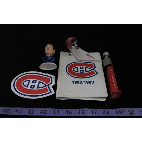#1129 - Montreal Canadiens Lot; Patrick Roy, Saku Koivu McFarlane Variant, Stanley Cup Pez & Book