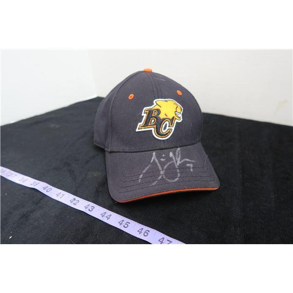 #1149 - BC Lions QB Jarious Jackson Autographed Hat - Tums Redemption