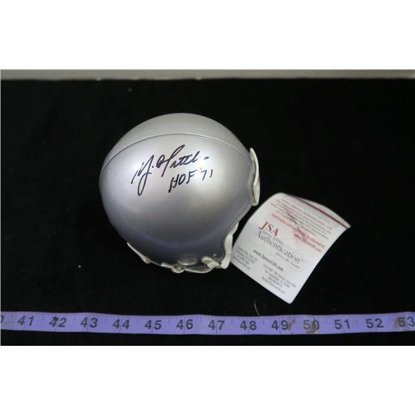 #1150 - Autographed Mini Helmet YA Title with HOF inscription - SF 49ers