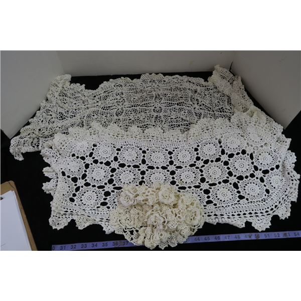 #1226 - Bag of White Crocheted Doillies - Very old