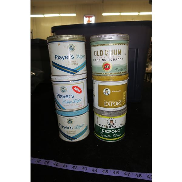 #1233 - 6 Lot of Tobacco Tins ; 3 plyaers, 2 export and 1 old chum