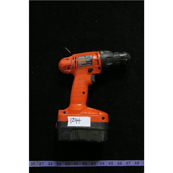 #1244 - Black and Decker 18 Volt Drill w/ Battery but no Charger