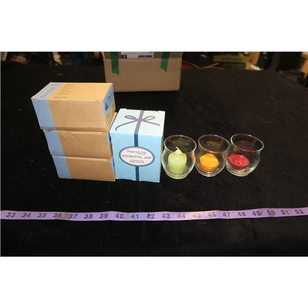 #1250 - Party Lite Lot - Spring Trio, 2 boxes of Tealights, 1 box of Votives and a Pillar