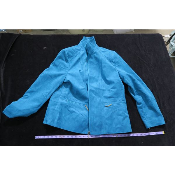 #1258 - Tan Jay Teal Faux Suede Sz18 Dinner Jacket - Like New