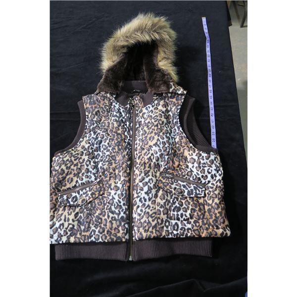 #1262 - Tribal Sz16 Leopard Print Hooded Vest