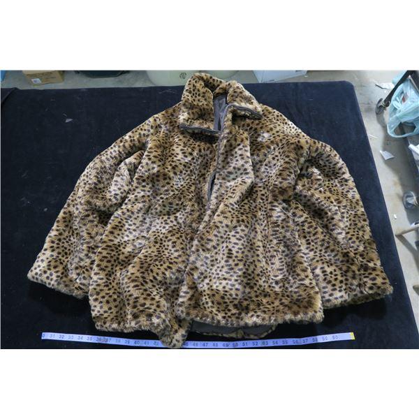 #1263 - Reversable Cheetah Print faux fur / Brown Inside - Fall/Winter Coat