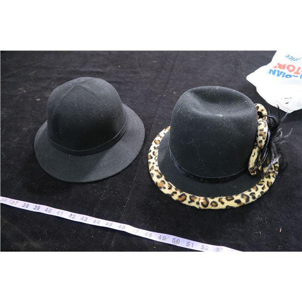 #1266 - Adora Black Felt w/leopard trim and Doeskin 100% Wool Felt Black Hat