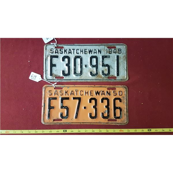 SK Farm Licence Plates 1948 & 1950