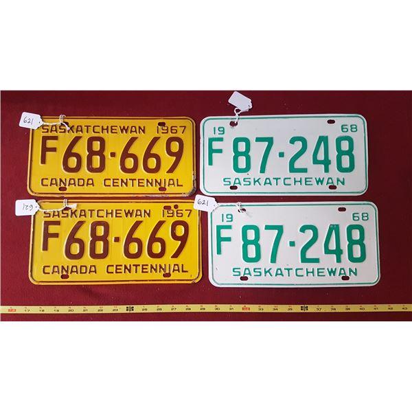 SK Farm Licence Plates Pair 1967 & 1968