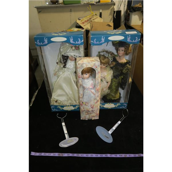 Collector Porcelain Dolls & Stands, with original boxes