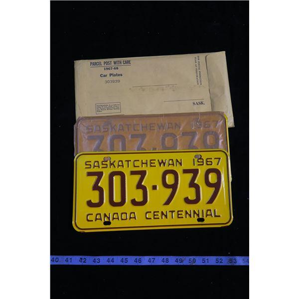 1967 Saskatchewan License plates Bradn new in sleeve