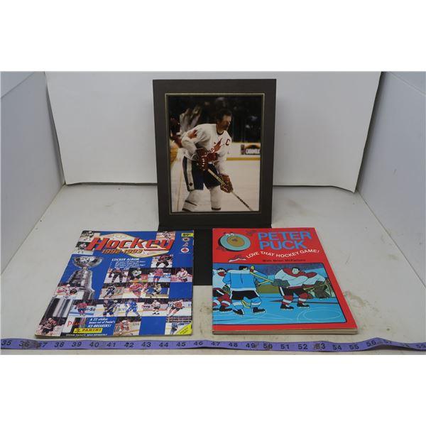 Kids Hockey Books & Vintage Player Photograph
