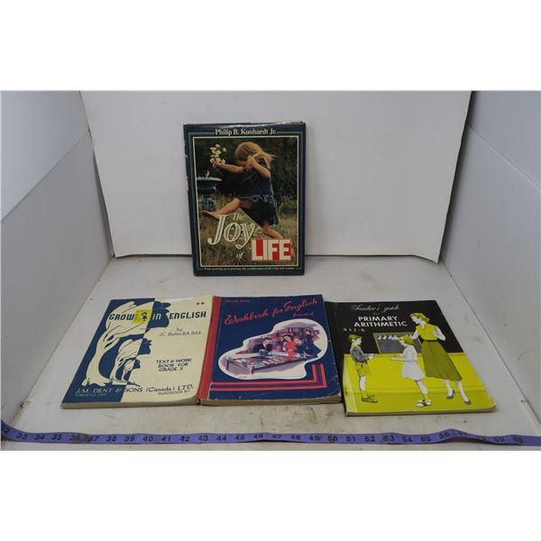 """Vintage School Workbooks & """"Life"""" Hardcover"""