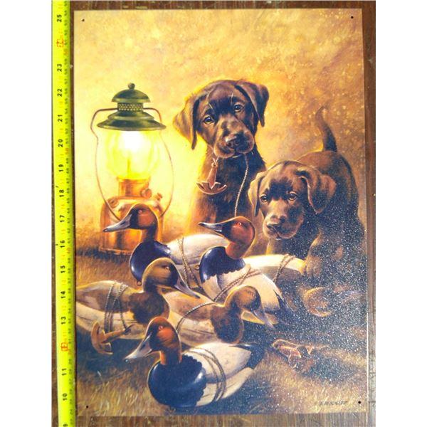 1 Tin Sign - Dogs & Ducks