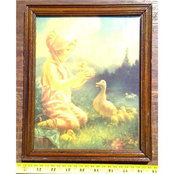 Pastel Framed Print - Girl with Ducks